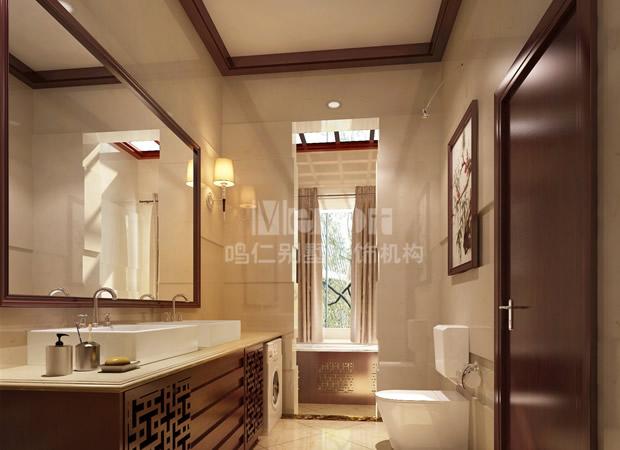 卫生间隔断效果图 卫生间隔断效果图 新中式洗手间效果图