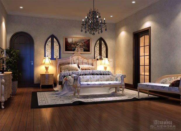 风格定位:美式乡村 材料介绍 水晶灯,射灯,银箔,壁纸,墙漆,墙裙,地毯