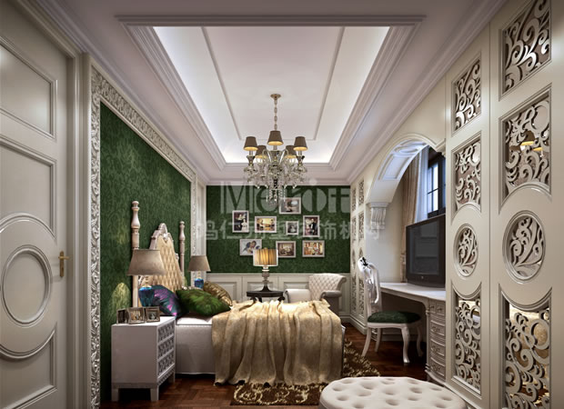 案例介绍 设计说明  新古典儿童房注重装饰效果,用室内陈设品来增强