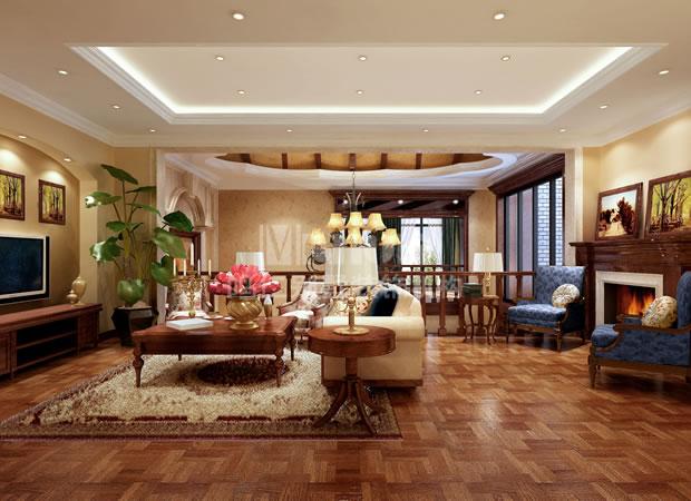 中式起居室装修效果图
