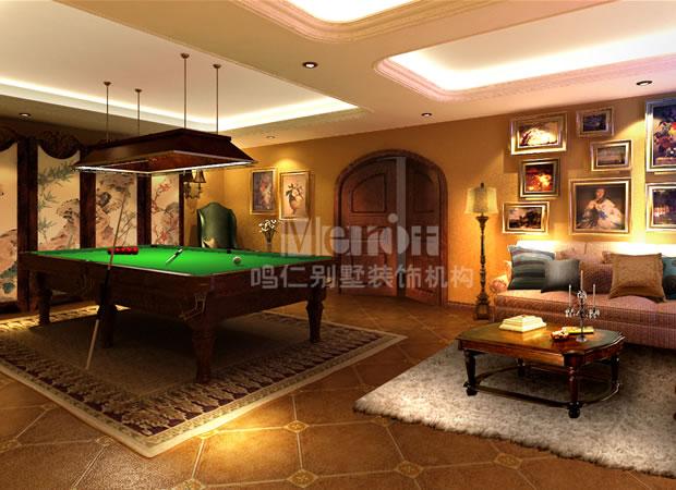 别墅案例 图片 休闲室          古典台球室整体设计强调空间的对比美