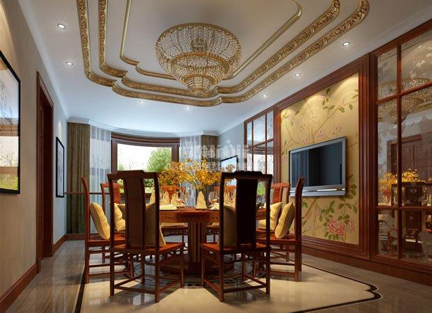 镀金的吊顶装饰与金色锥形吊灯奢华,贵气十足,牡丹花样的电视背景