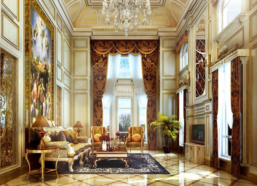 本案的設計靈感來源于盧浮宮的裝飾藝術特點,運用千變萬化的舒卷、糾纏的草葉、巖石、蚌殼、薔薇和棕櫚等洛可可式裝飾風格的代表元素,室內采用明快的色彩和纖巧的裝飾,家具非常精致,偏于繁瑣。為展示壁面的形式美,設計師利用繁復多變的曲線和裝飾性的繪畫填充壁面,甚至利用鏡面或燭臺等使室內空間變得更為豐富,將法式時尚奢華的居室魅力詮釋得有聲有色。  一層主要以會客、休閑為主,餐廳、客廳、臺球室等分布在其中。  門廳洛可可風格講究裝飾空間的對稱性,門廳處金箔的吊頂彰顯了空間的氣勢,地面由高貴的西班牙米黃和深啡、淺啡的理石