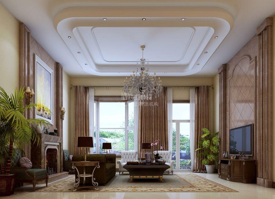 突出表现一层客厅,鸣仁别墅装饰机构设计师根据要求