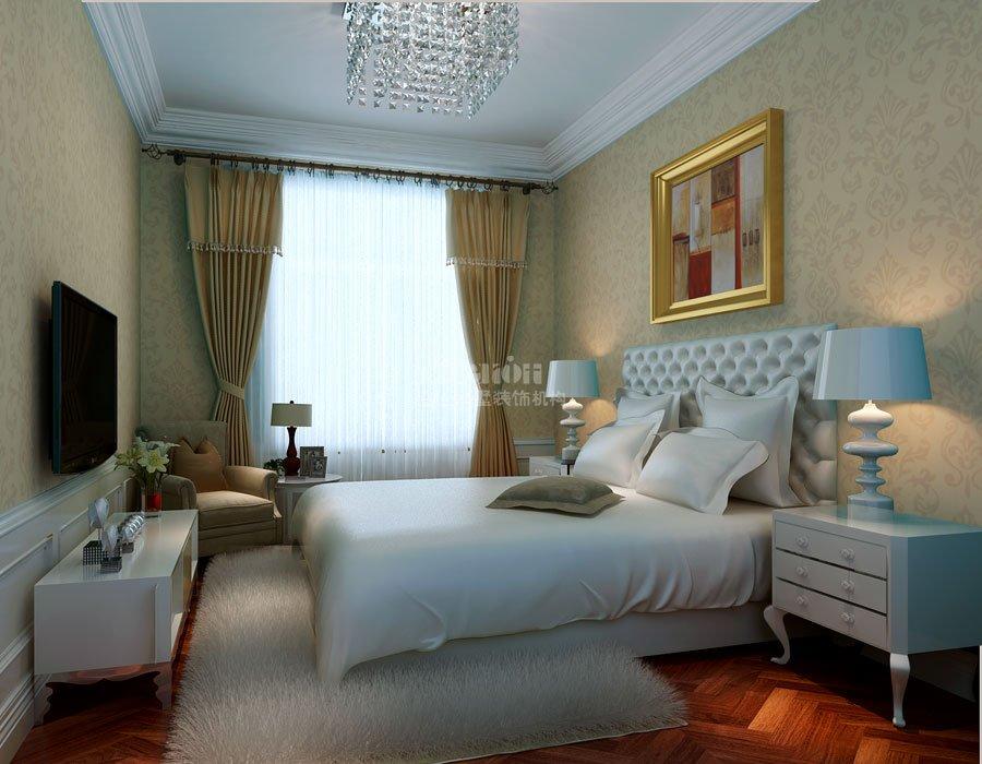 白色混油实木装饰而成,古典与现代元素结合而成的装饰品嵌入内墙壁,为图片