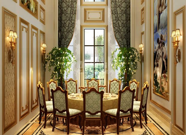 现代欧式的家居理念融合了浪漫与奢华,讲究营造品位与安逸的氛围,其空间特点在当代家居风格中占有重要的地位。现代欧式的装修风格是古典欧式去繁从简后的产物,也成为简约欧式,它拒绝浓烈的色彩,偏爱一些清新淡雅的蓝色或是绿色,比如一抹淡淡的清漆,也是现代欧式装修风格的美好演绎。本案采用欧式元素与现代材质融为一体的表现手法,大量运用花纹来代替造型,使空间从感观上看起来更厚重、更丰富。  一层主要以会客为主,餐厅、客厅等分布在其中。  客厅以欧式风格在布局上突出轴线的对称。以造型壁炉为中心,沙发、茶几和边桌分布在壁炉两