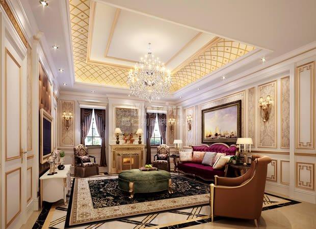 平中海尚湖世家古典欧式风格装修效果图--仁晟装饰
