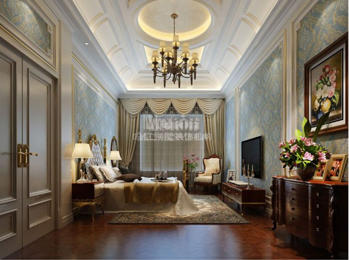 别墅欧式的装修风格:在形式上以浪漫主义为基础,装修材料常用大理石、多彩的织物、精美的地毯,精致的欧洲壁挂做装点,整个风格豪华、富丽,充满强烈的动感效果。  在欧式别墅装修风格的卧室空间里,选择欧式风情的灯饰:如壁灯,在整体明快、简约、单纯的房屋空间里,传承着西方文化底蕴静静泛着影影绰绰的光,朦胧、浪漫之感油然而生。  在欧式别墅卧室效果图挂金属框抽象画或摄影作品,通常会挑选一些西方艺术家名作的作品(赝品),比如抽象化作等,将西方艺术带进别墅卧室中,以期营造出浓郁的艺术氛围,衬托出主人的文化修养。  鸣仁装