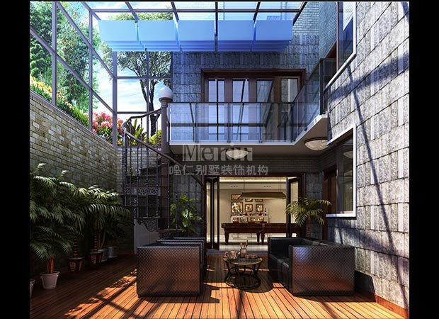 别墅下沉式庭院景观设计图分享展示