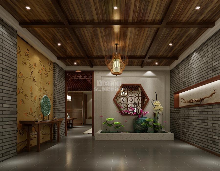 别墅门厅装修效果图-800平北京通州会所新中式风格装修效果图