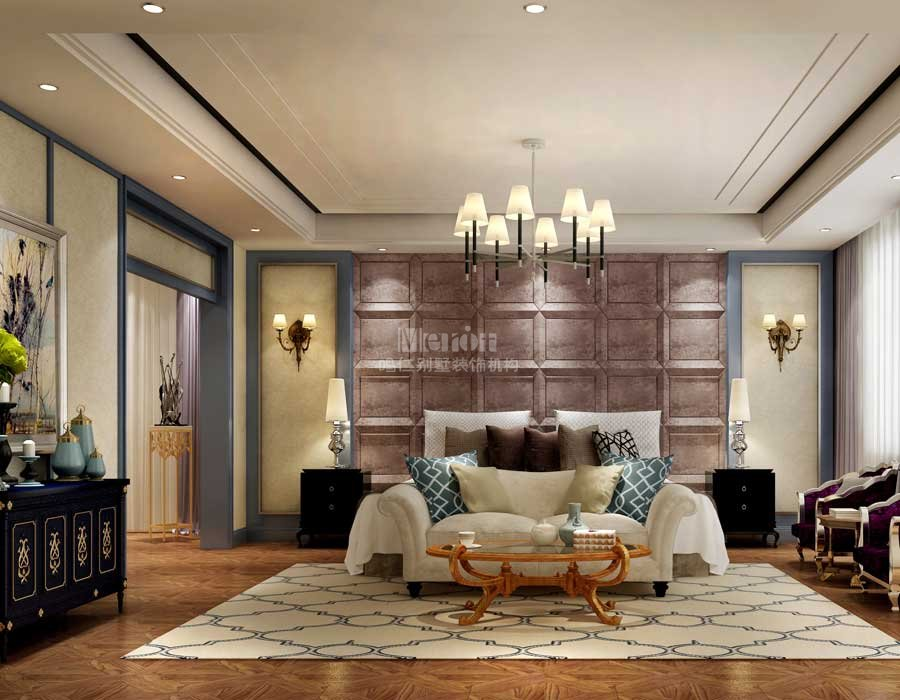 墙面风格迥异的装饰挂画,俏皮活泼的花艺陈设品,彰显出居室主人优雅的气质与内涵。整个客厅的色调偏向清新脱俗,整个空间氛围沉浸在时尚高雅之中,加有一点沉稳大气,却又不失活泼浪漫。 吊顶为直线跌级灯池吊顶,层次感突出,房子看上去空间感更强。地面采用中国传统纹样图案装饰的大理石地板,吊顶与地板这种不花哨的装饰,质朴大气,内敛中又透露出高贵典雅的气质。沙发配色较优雅,贵气紫的布艺沙发与低调砖红色靠包的撞色,让沙发更富有活力。